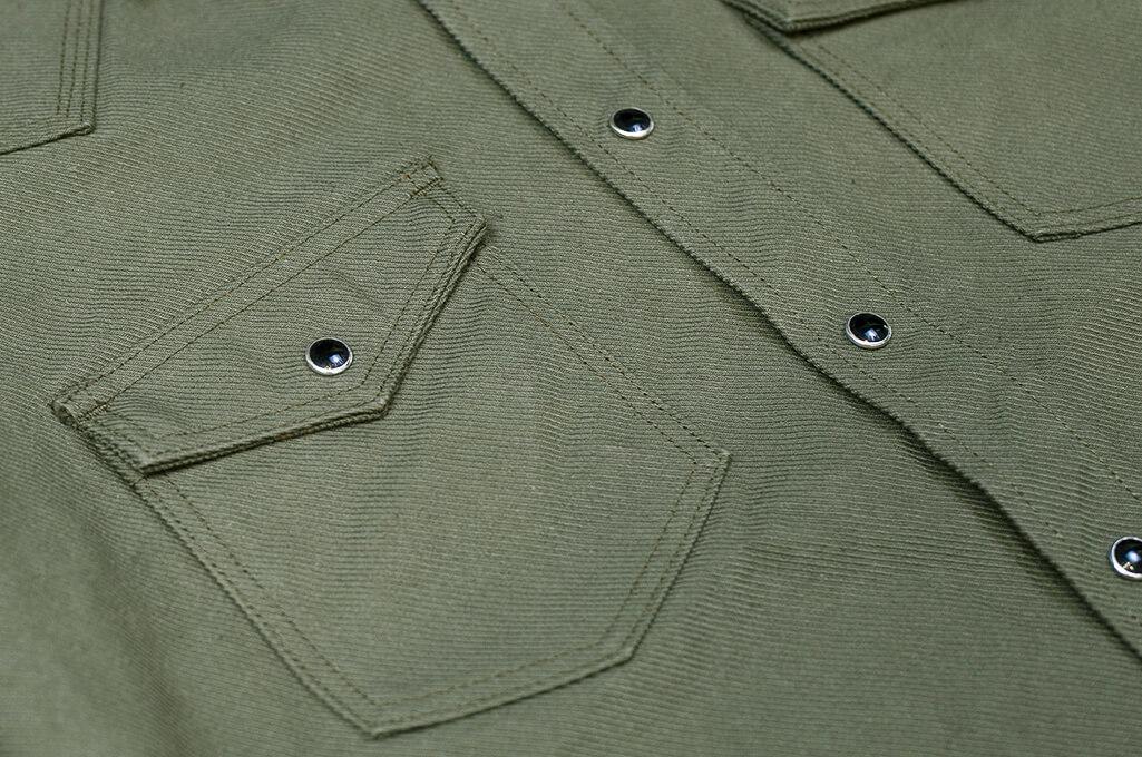 Iron Heart 13oz Military Serge Snap Shirt - Olive - Image 5