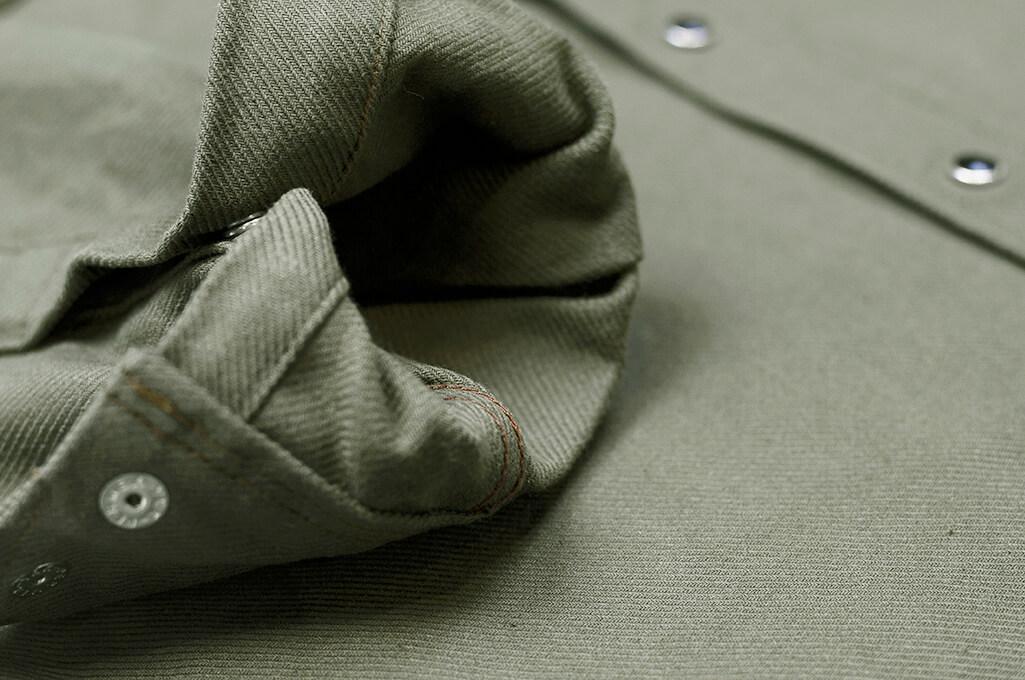 Iron Heart 13oz Military Serge Snap Shirt - Olive - Image 7
