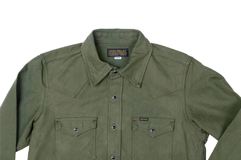 Iron Heart 13oz Military Serge Snap Shirt - Olive - Image 9