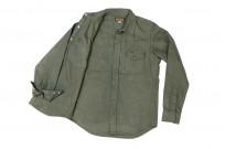 Iron Heart 13oz Military Serge Snap Shirt - Olive - Image 10