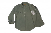 Iron Heart 13oz Military Serge Snap Shirt - Olive - Image 11
