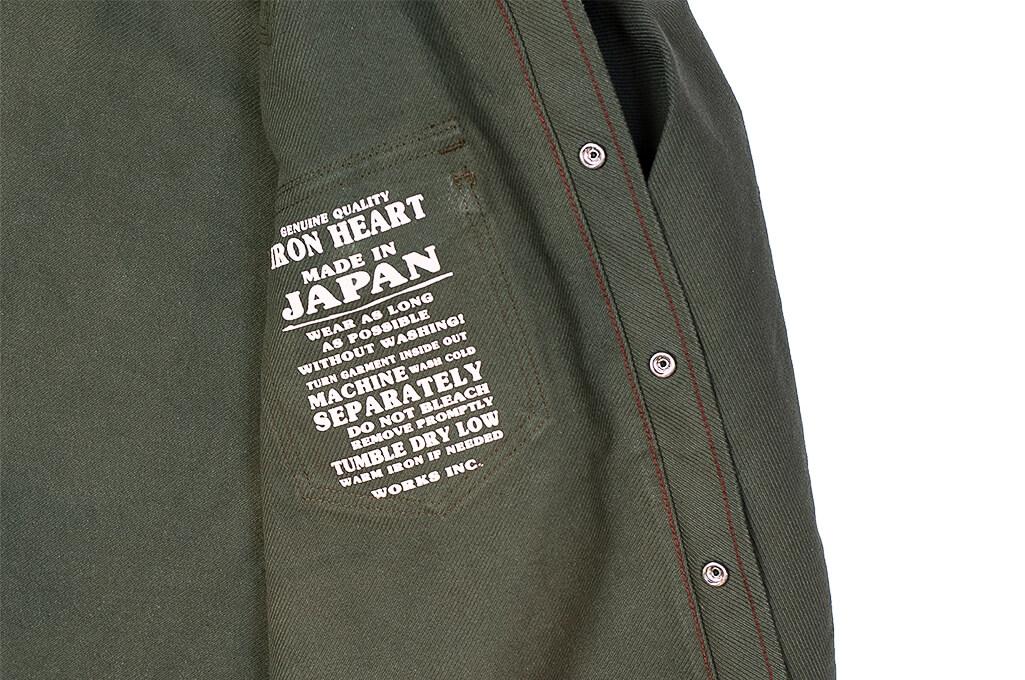 Iron Heart 13oz Military Serge Snap Shirt - Olive - Image 12