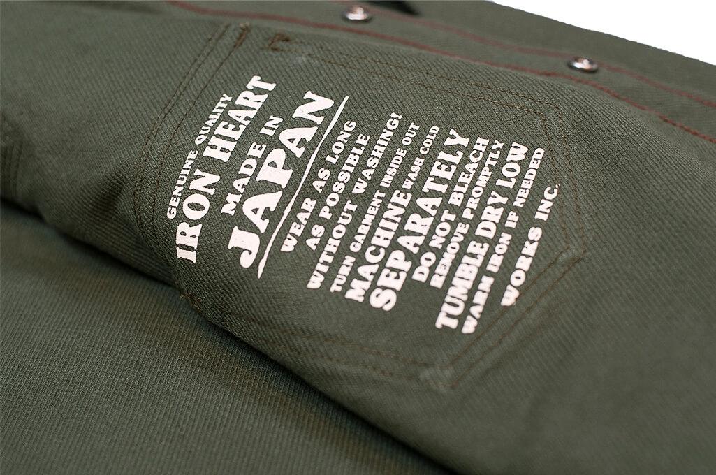 Iron Heart 13oz Military Serge Snap Shirt - Olive - Image 13