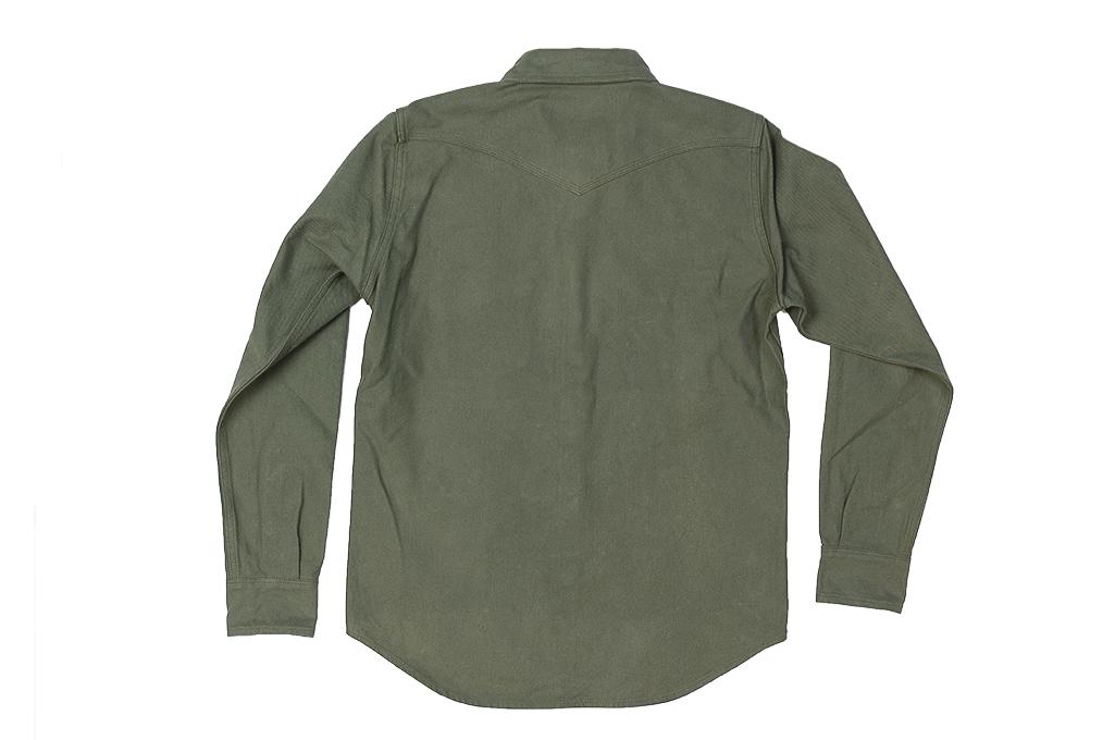 Iron Heart 13oz Military Serge Snap Shirt - Olive - Image 14