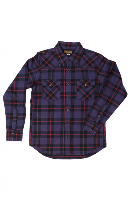 Iron Heart Ultra-Heavy Flannel - Tartan Check Purple