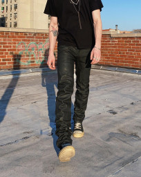 Rick Owens DRKSHDW Duke Jeans - Made in Japan Black Waxed (Self Edge Exclusive) - Image 25