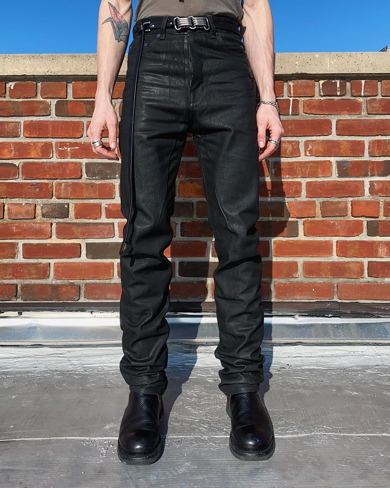 Rick Owens DRKSHDW Duke Jeans - Made in Japan Black Waxed (Self Edge Exclusive) - Image 26