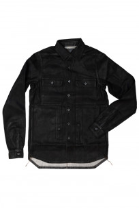 Rick Owens DRKSHDW Outershirt - Made in Japan Black Waxed (Self Edge Exclusive) - Image 0