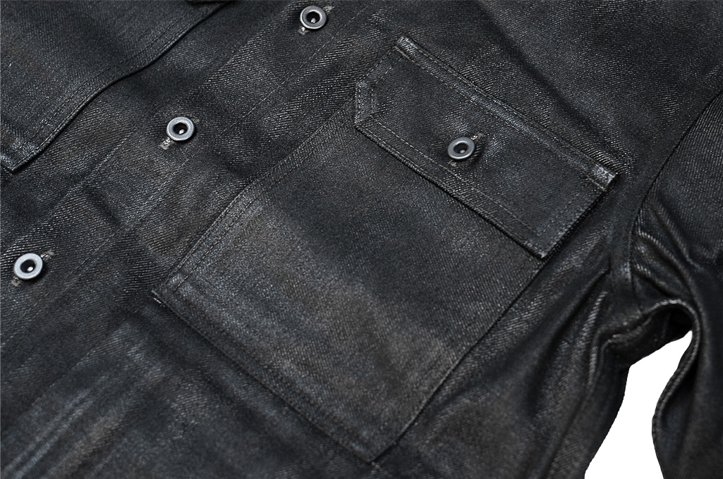 Rick Owens DRKSHDW Outershirt - Made in Japan Black Waxed (Self Edge Exclusive) - Image 2