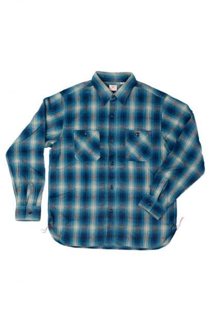 Sugar Cane Twill Check Flannel Shirt - Cerulean Blue