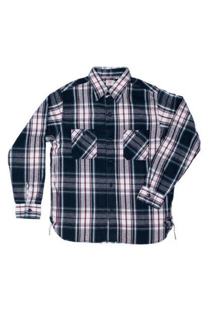 Sugar Cane Twill Check Flannel Shirt - Sine Wave Black