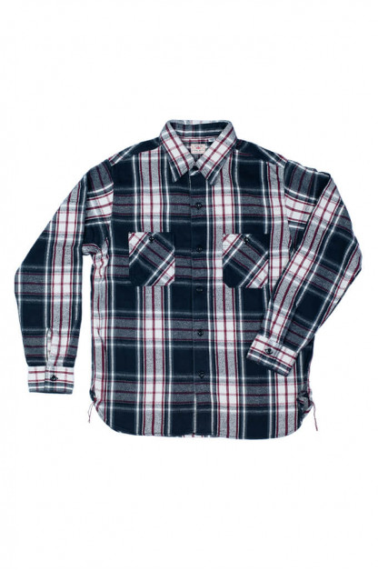Sugar Cane Twill Check Flannel Shirt - Sine Wave Black