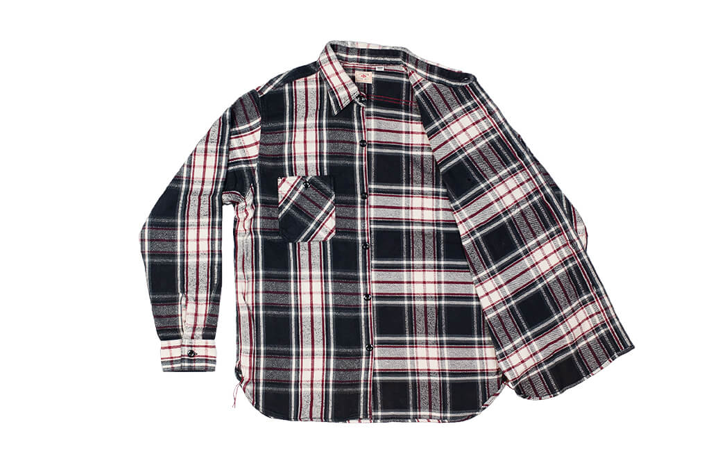 Sugar Cane Twill Check Flannel Shirt - Sine Wave Black - Image 7