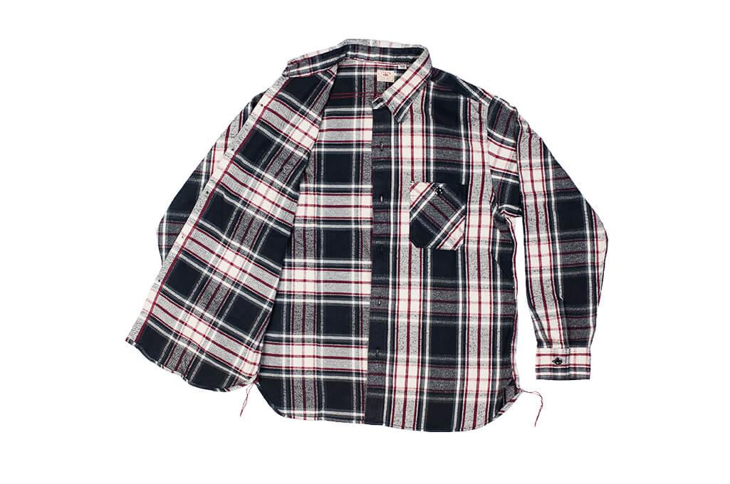 Sugar Cane Twill Check Flannel Shirt - Sine Wave Black - Image 8