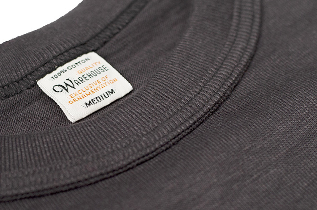 Warehouse Slub Cotton T-Shirt - Black w/ Pocket - Image 4