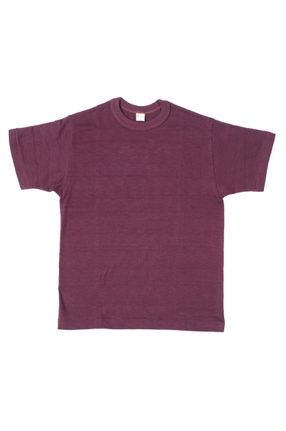Warehouse Slub Cotton T-Shirt -Bordeaux Plain