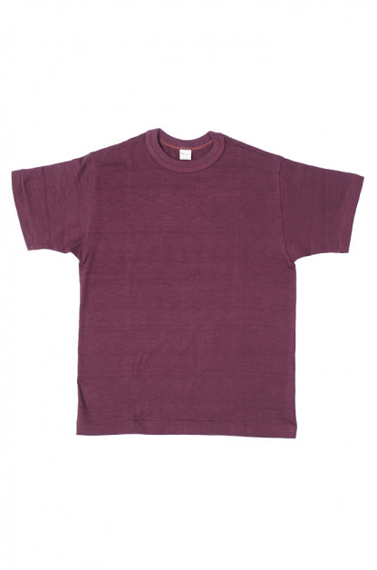 Warehouse Slub Cotton T-Shirt -Bordeaux Plain