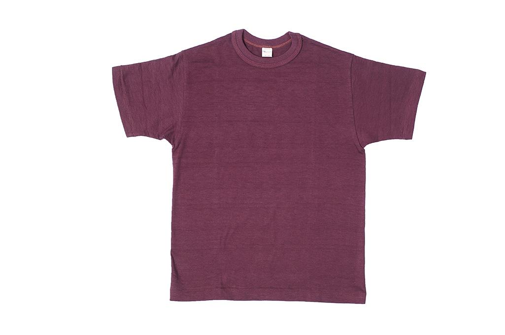 Warehouse Slub Cotton T-Shirt -Bordeaux Plain - Image 1