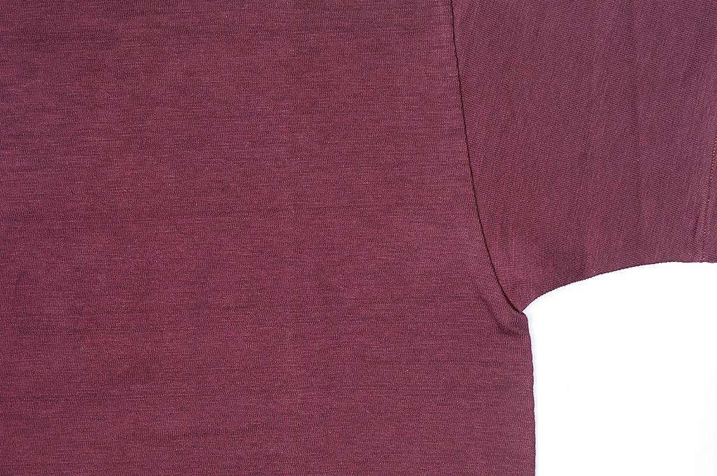 Warehouse Slub Cotton T-Shirt -Bordeaux Plain - Image 2