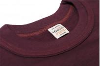 Warehouse Slub Cotton T-Shirt -Bordeaux Plain - Image 3