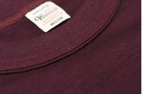 Warehouse Slub Cotton T-Shirt -Bordeaux Plain - Image 4