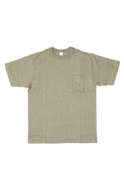 Warehouse Slub Cotton T-Shirt - Dark Olive w/ Pocket