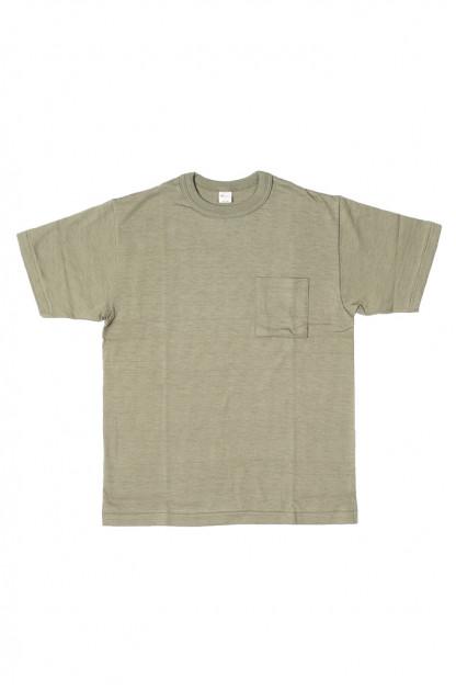 Warehouse Slub Cotton T-Shirt - Dark Olive w/ Pocket