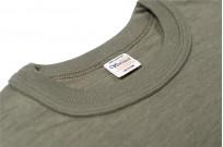 Warehouse Slub Cotton T-Shirt - Dark Olive w/ Pocket - Image 3