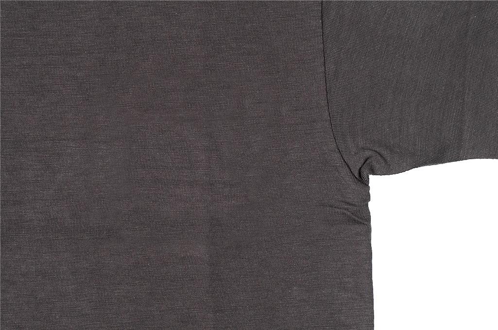 Warehouse Slub Cotton T-Shirt - Black Plain - Image 2