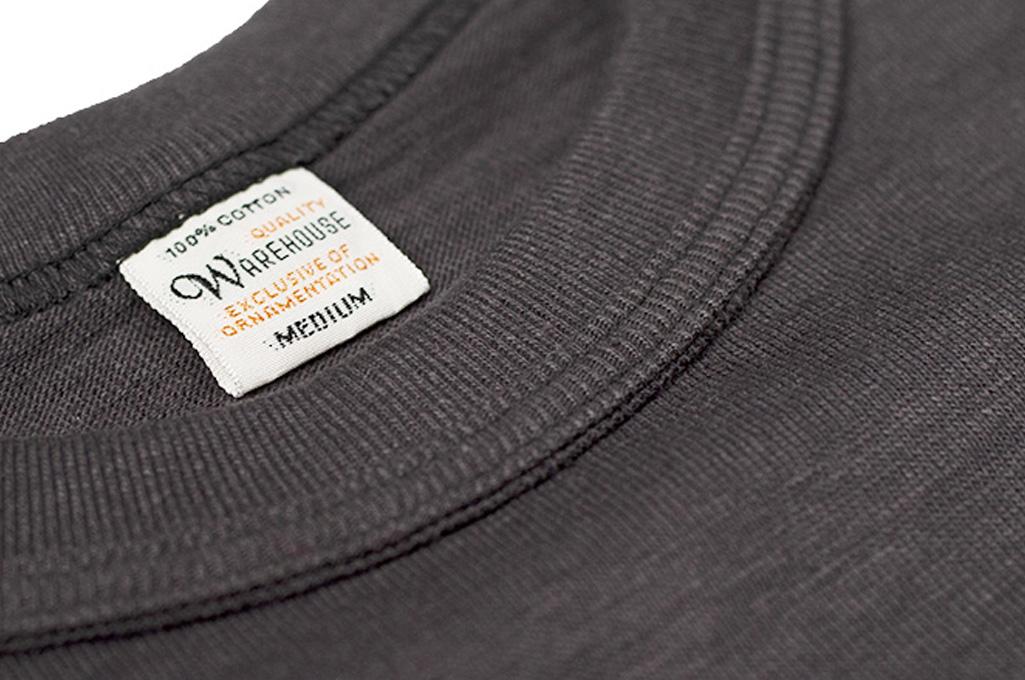 Warehouse Slub Cotton T-Shirt - Black Plain - Image 4