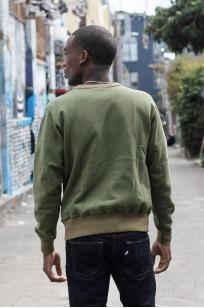 Buzz Rickson Flatlock Seam Crewneck Sweater - Olive - Image 2