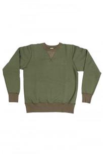 Buzz Rickson Flatlock Seam Crewneck Sweater - Olive - Image 3