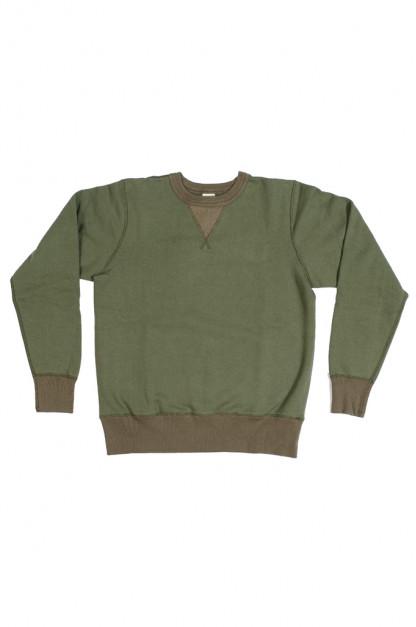 Buzz Rickson Flatlock Seam Crewneck Sweater - Olive