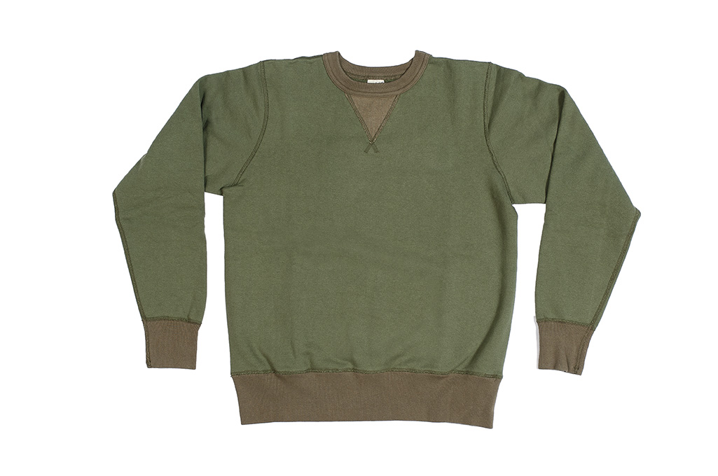 Buzz Rickson Flatlock Seam Crewneck Sweater - Olive - Image 4