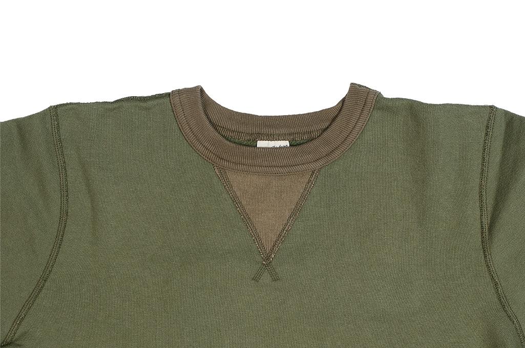 Buzz Rickson Flatlock Seam Crewneck Sweater - Olive - Image 6