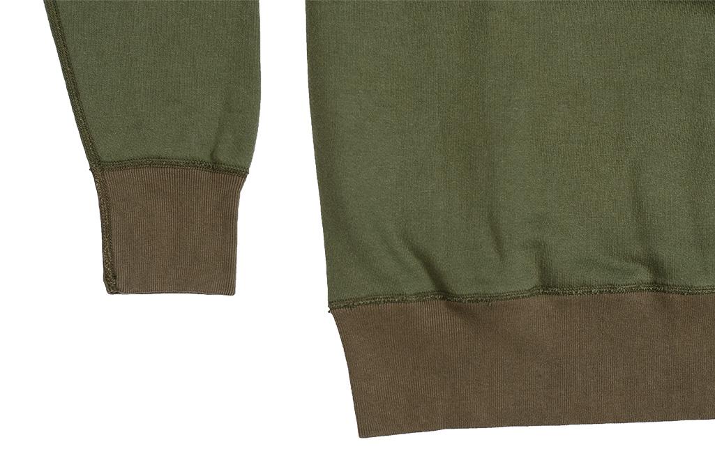 Buzz Rickson Flatlock Seam Crewneck Sweater - Olive - Image 7
