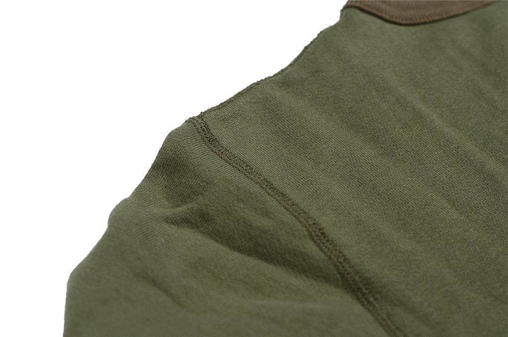 Buzz Rickson Flatlock Seam Crewneck Sweater - Olive - Image 11