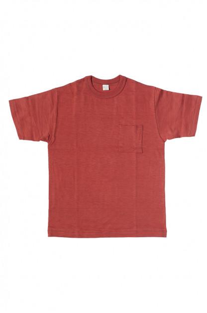 Warehouse Slub Cotton T-Shirt - Red w/ Pocket