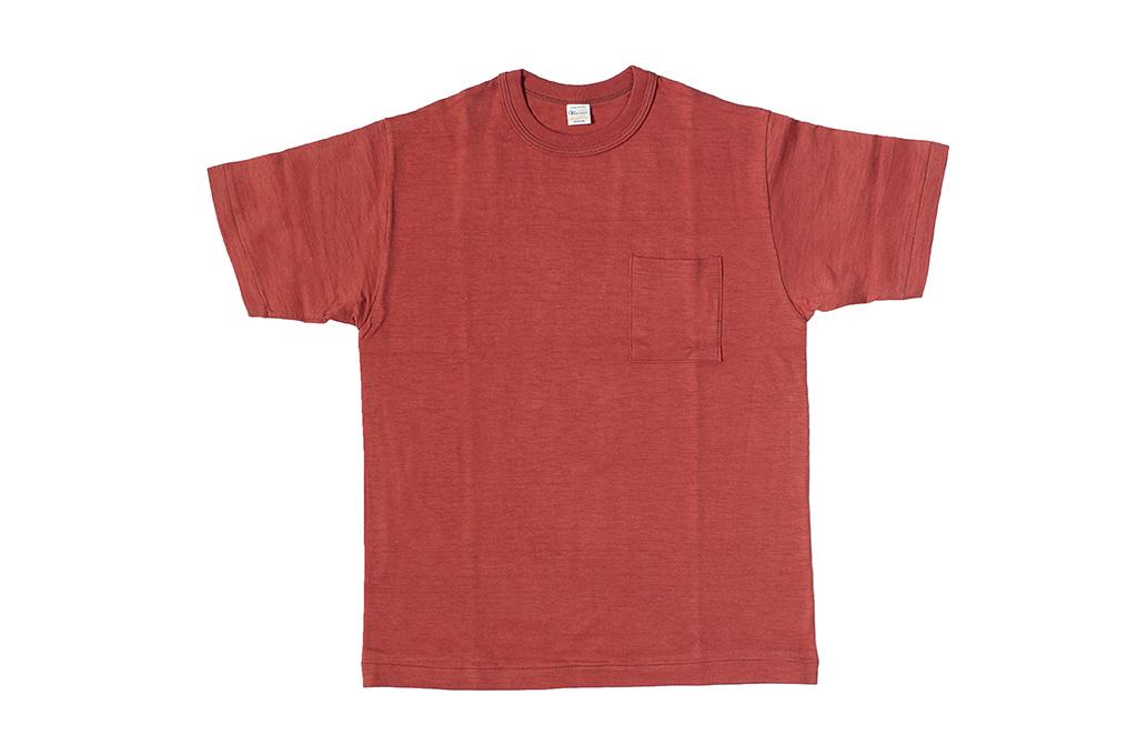Warehouse Slub Cotton T-Shirt - Red w/ Pocket - Image 1