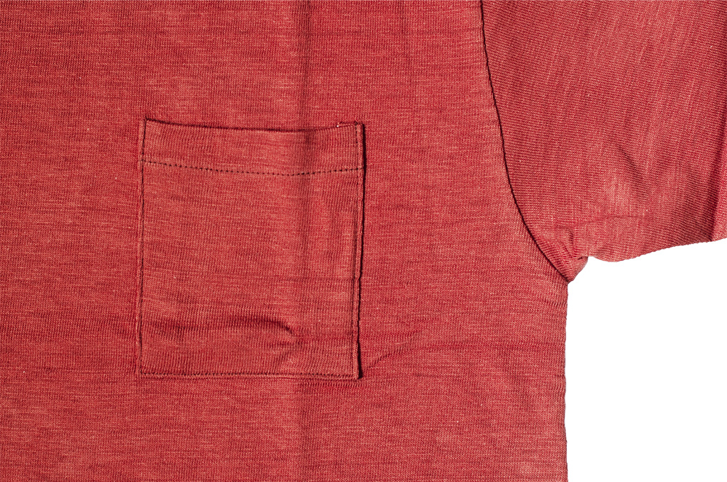 Warehouse Slub Cotton T-Shirt - Red w/ Pocket - Image 2