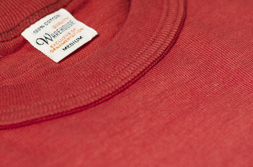 Warehouse Slub Cotton T-Shirt - Red w/ Pocket - Image 5