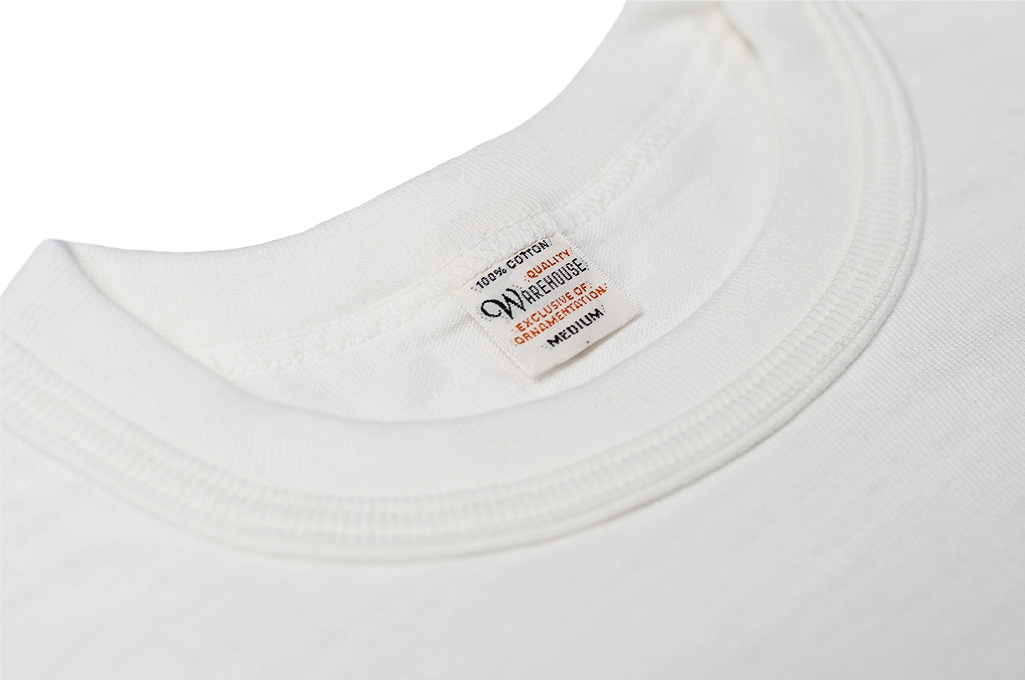 Warehouse Slub Cotton T-Shirt - White Plain - Image 4