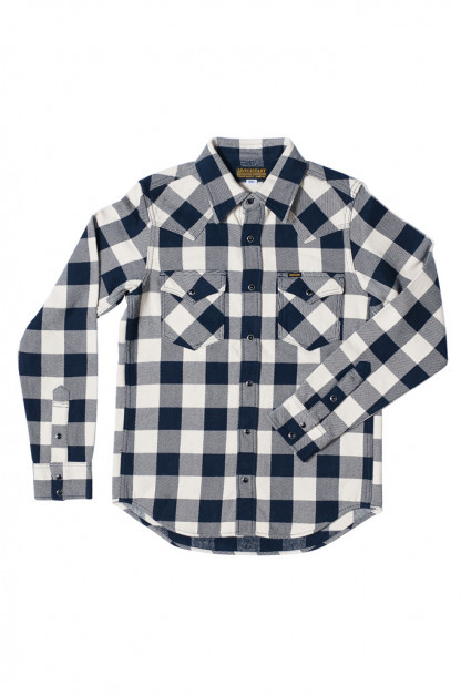 Iron Heart Ultra-Heavy Flannel Snap Shirt - Navy/Ivory