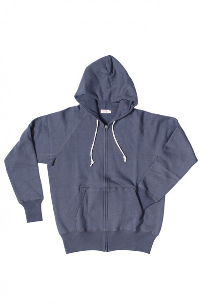 Warehouse Loopwheeled Zippered Hoodie - Eggplant Navy