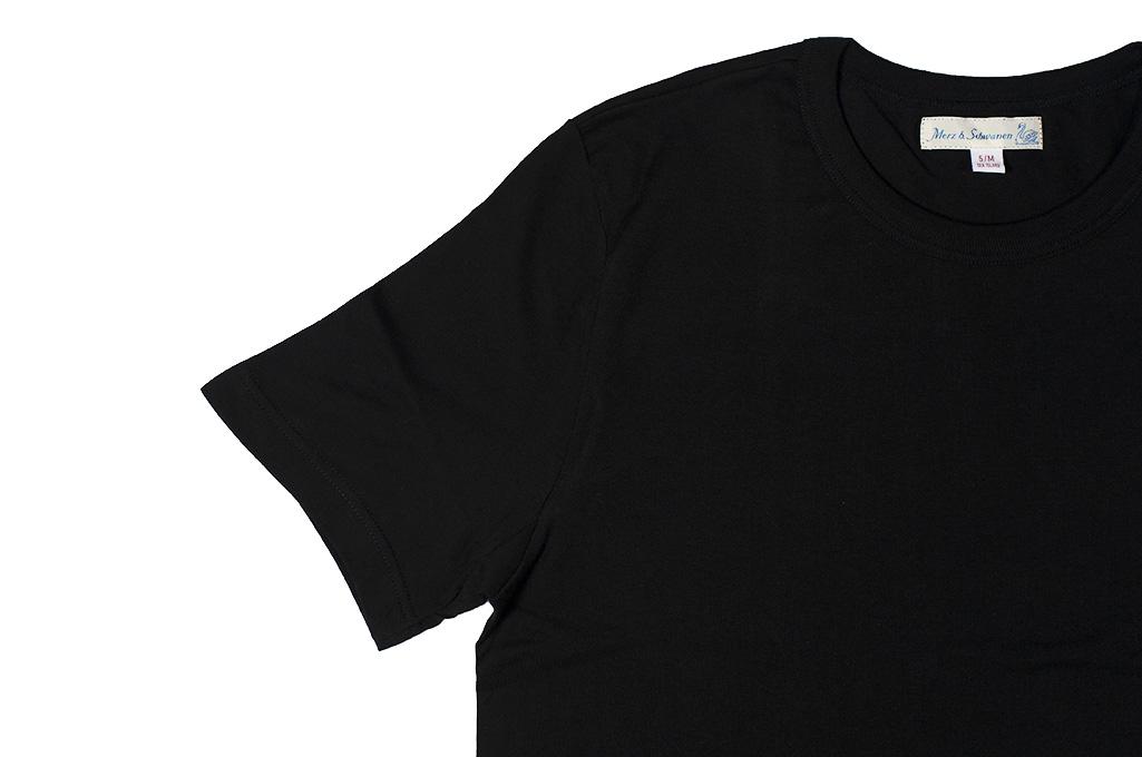 Merz B. Schwanen Loopwheeled T-Shirt - Sea Island Cotton Black - Image 4