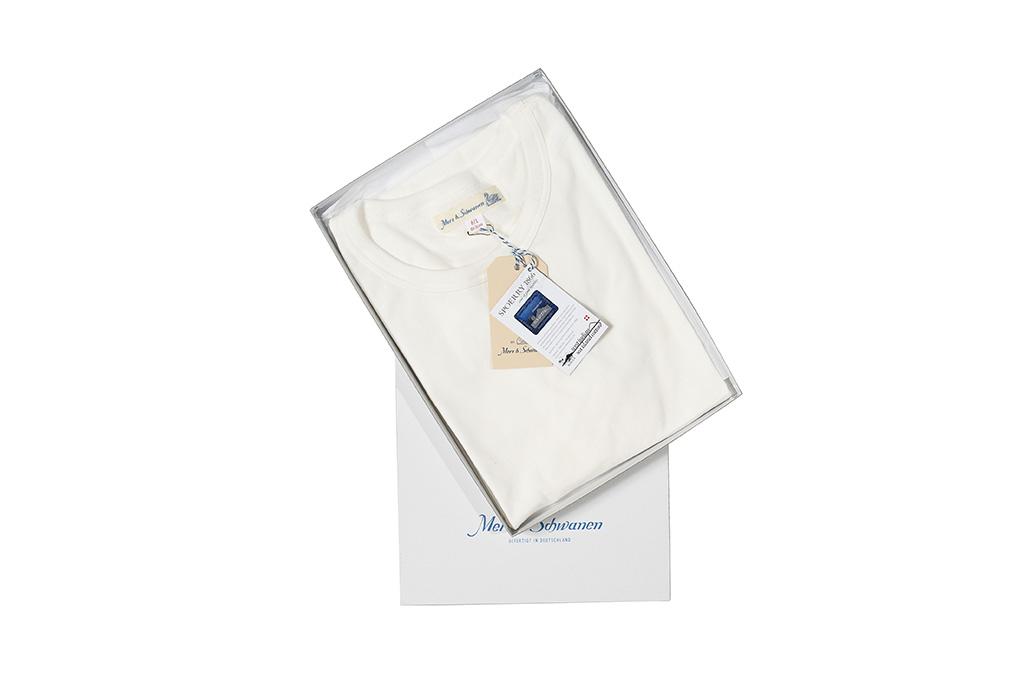 Merz B. Schwanen Loopwheeled T-Shirt - Sea Island Cotton White - Image 1