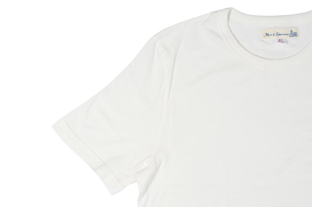 Merz B. Schwanen Loopwheeled T-Shirt - Sea Island Cotton White - Image 4