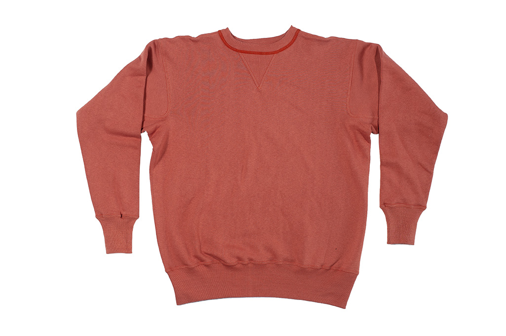 Warehouse Loopwheeled Set-In Freedom Crewneck Sweater - Salmon - Image 3