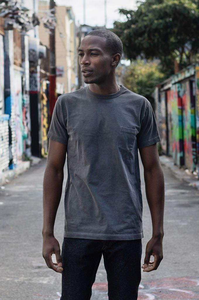 3sixteen Suffused Collection / Overdyed Pocket T-Shirt - Aphotic Anthracite - Image 1