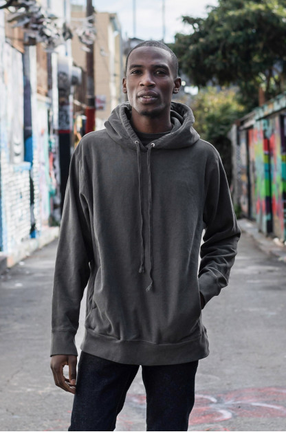 3sixteen Suffused Collection / Overdyed French Terry Pull-Over Hoodie - Aphotic Anthracite